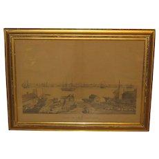 "Antique FITZ HUGH LANE ""View of Newburyport from SALISBURY' BIRDS EYE Lithograph - Important Early work!"