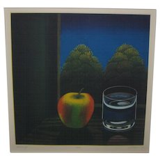 Vintage JOOP VEGTER 'Summer Night' Apple STILL LIFE Mezzotint Etching - LISTED