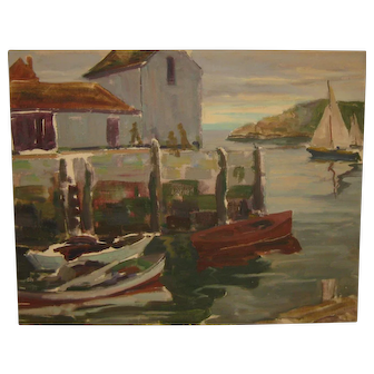 Vintage LEIGHTON CRAM Sailboats BOATS in HARBOR Motif #1 Modernist Oil Painting