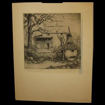 Vintage AVIS CHITWOOD Old Stage Spring & Inn KANSAS Etching - TOPEKA Print Maker