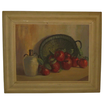 Vintage LILA SHELBY 'Apples Basket & Jug' STILL LIFE Painting - Louisiana Listed