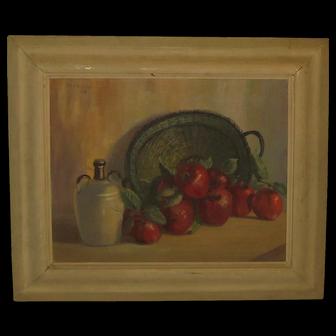 Vintage LILA SHELBY 'Apples Basket & Jug' STILL LIFE Painting - Louisiana Listed