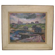 1964 EDWARD GOLDMAN (1916-2006) 'Maine' Harbor boats Oil Painting  - MODERNIST - Isle of Shoals?