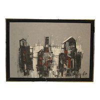 Vintage SHAUL OHALY (1922-2003) 'Homes' ISRAEL School Modernist Oil Painting -Listed Judaica