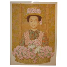 Vintage 1994 BEN BLACK (1922-2003) 'African American Flower Girl Portrait' PAINTING - Listed Boston