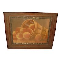 Antique New Bedford School 'BASKET OF PEACHES' Still Life Oil Pastel Painting