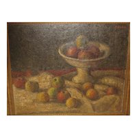 Antique Still Life APPLES in Compote Oil PAINTING - Listed? - Signed illegibly