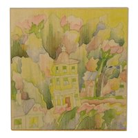 "BLAIR LENT (1930-2009) ""The Yellow Building"" PAINTING - Children's book Illustration"