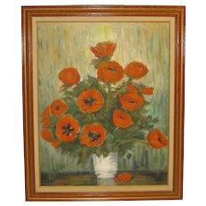 Vintage RICHARD GORDON PACKER 'Oriental Poppies' Still Life Flowers Oil Painting