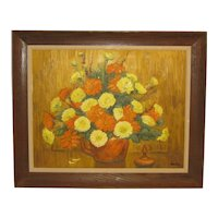 Vintage 1976 RICHARD GORDON PACKER 'Fall Flowers' Still Life MUMS Oil Painting