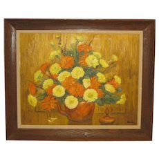 Vintage 1976 RICHARD GORDON PACKER 'Fall Flowers' Still Life MUMS Oil Painting
