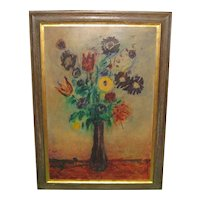 Vintage DONALD PURDY Modernist FLOWERS in Vase Still life Large PAINTING -Listed