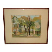 1940 JEANNE TAYLOR (1912-1992) Minnesota Modernist 'ST PAUL Landscape' Painting - Listed WPA