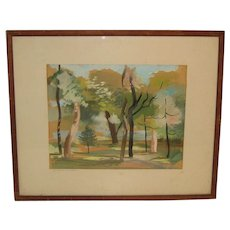 1940 JEANNE TAYLOR (1912-1992) Minnesota Modernist 'ST PAUL Landscape' Painting - Listed WPA