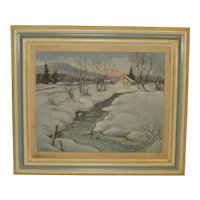 Herbert A Steinke *ITS COLD* Adirondacks oil painting -WINTER Mountain LANDSCAPE
