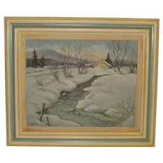 Herbert A Steinke *ITS COLD* Adirondacks oil painting -WINTER Mountain LANDSCAPE