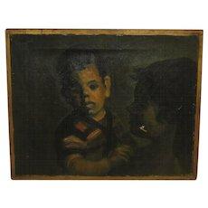 Vintage GLORIA LONGVAL (b 1931) 'Mother Love' Oil Painting - Listed Cuban Lesbian Artist