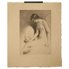 Original GEORGE TOBIN (1864-1956) *Contemplation* Nude woman w APPLE etching