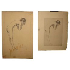 Original GEORGE TOBIN (1864-1956) *The Spring* Nude woman DRAWING & etching