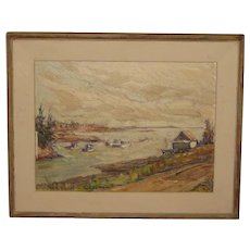 Vintage RICHARD SIGAFOOS (1908-1985) 'Sheltered Harbor' Marine Oil Painting - Listed BUFFALO