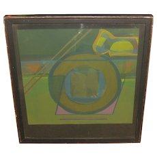 Rare ALLEN BARBER (1939-1994) Mid Century Abstract Modern '5 in the Left' Serigraph - PRATT