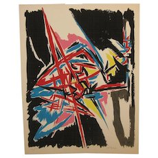 ANGELO SAVELLI (1911-1995) Abstract Expressionist ABEX Lithograph - Listed Italian MODERNISM