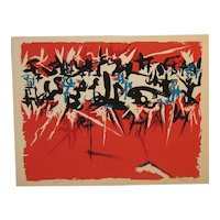 Rare 1955 ANGELO SAVELLI (1911-1995) Abstract Expressionist ABEX Signed Lithograph - Listed