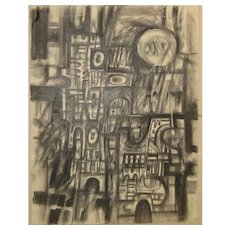 1964 John Cipot (1928-2008) ABSTRACT EXPRESSIONIST City Architecture Graphite Drawing - MODERNISM - University of Connecticut