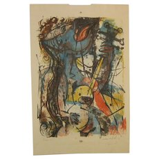 1967 WILLIAM ASHBY McCLOY (1913-2001) 'Serenade #2' Abstract Expressionist GUITAR PLAYER Lithograph - Listed