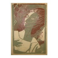 1959 WILLIAM ASHBY McCLOY (1913-2001) 'Souvenir DH' MODERNIST Woman Portrait Woodcut - Listed