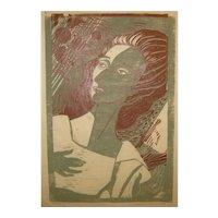 1959 WILLIAM ASHBY McCLOY (1913-2001) 'Souvenir DH' MODERNIST Woman Portrait Woodcut - Listed