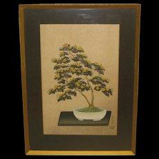 Vintage NISABURO ITO 'Potted Chrysanthemum' Yellow Flowers Bonsai Tree JAPANESE Woodcut