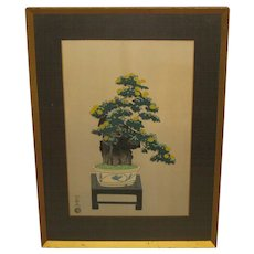Vintage NISABURO ITO Chrysanthemum Yellow Flowers Bonsai Tree on Stool JAPANESE Woodcut