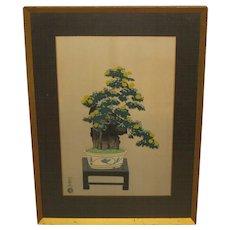 Vintage NISABURO ITO Chrysanthemum Yellow Flowers Bonsai Tree on Stool JAPANESE Woodcut