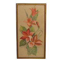 Vintage HEDWIG MASSIG Pink Tulips' Flower Painting -Listed CHICAGO Arts & Crafts
