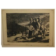 Vintage 1931 HARRY STERNBERG 'Principle #3 - DWARF SINGING' Etching w Aquatint