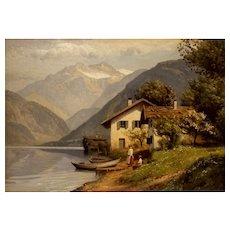 """Lake Thun, "" ca 1960, Oil on Canvas, 19.66 x 27.5 "" sight),"