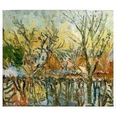 """Village Pond in Winter,"" ca 1935 (Off Season Price)"