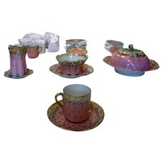 Extraordinary AA Vantine Demitasse set: 26 Pieces, including Creamer, Sugar Bowl, and Covered Dish