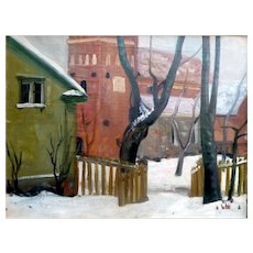 """Parson's Yard in Winter,"" 1943, Oil on Canvas,"