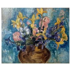 "Iris and Roses, a'la Matisse, ca 1916, Oil on Canvas (24 x 29"" sight)"
