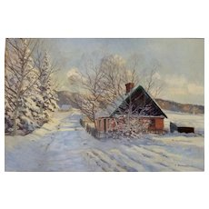 """Pink House in Snow"", Oil on Canvas, 18.5 x 27"" (sight), ca 1930"