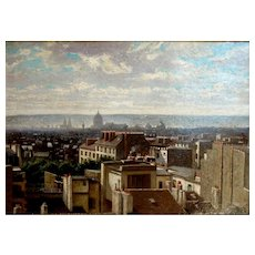 "Paris Rooftops and Chimney Pots, ca 1900, Oil on Artist Board, 13.5 x 18.5"" (sight)"