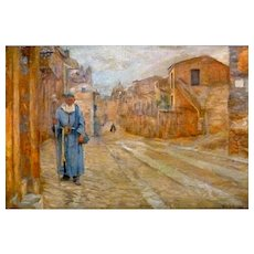 "Monk in Blue, Rome, ca 1893, Oil on Canvas, 15 x 22"" (sight)"