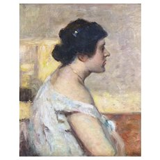 """Soft Shoulder,"" ca 1895, Oil on Canvas,  24 x 19 1/2"""
