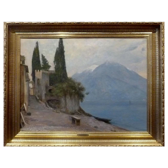 "Lake Como, Italy, ca 1915, 19 3/4 x 26 1/4"" (sight), Oil on Canvas"