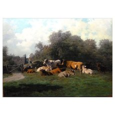 """Resting Cows, with Drover, ca 1880, Oil on Canvas, 25 x 33 1/4"""" (sight)"""