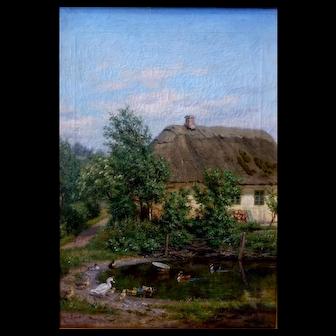 """Duck Pond,"" ca 1900, Oil on Board"