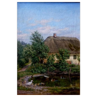 """Duck Pond,"" ca 1900, Oil on Board"