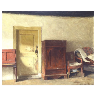 """Scratched Door,"" 1919, Oil on Canvas, 17.5"" x 21"" (sight)"